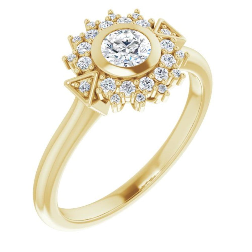 Inel Logodna Aur Galben si Diamant 0.30ct GIA Accent