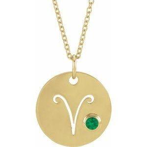 Pandantiv Zodiac Berbec Aur Galben cu Smarald bijuterii