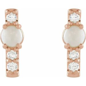 Cercei Diamante si Opal Aur ROZ bijuterii