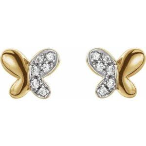 Cercei copii Fluturi Aur Galben cu Diamante
