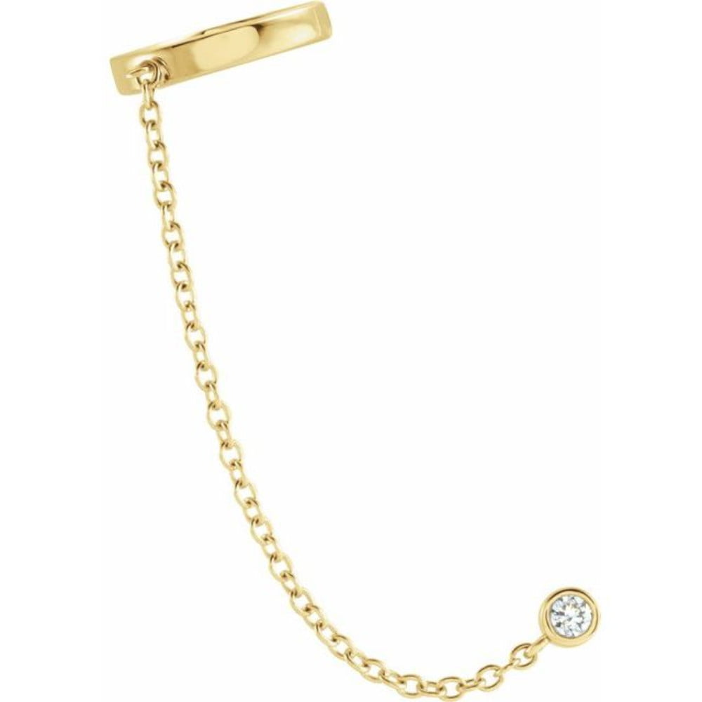 Cercel pe ureche cu diamant Aur Galben