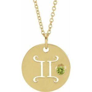 Pandantiv Zodiac Gemeni Aur Galben cu Peridot