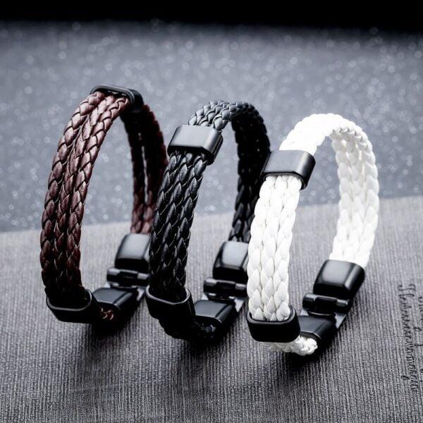Bratara piele impletita Leather Twist magazin bijuterii