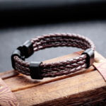 Bratara piele maro impletita Leather Twist magazin bijuterii