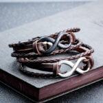 Bratara piele maro cu otel argintiu si negru Infinity