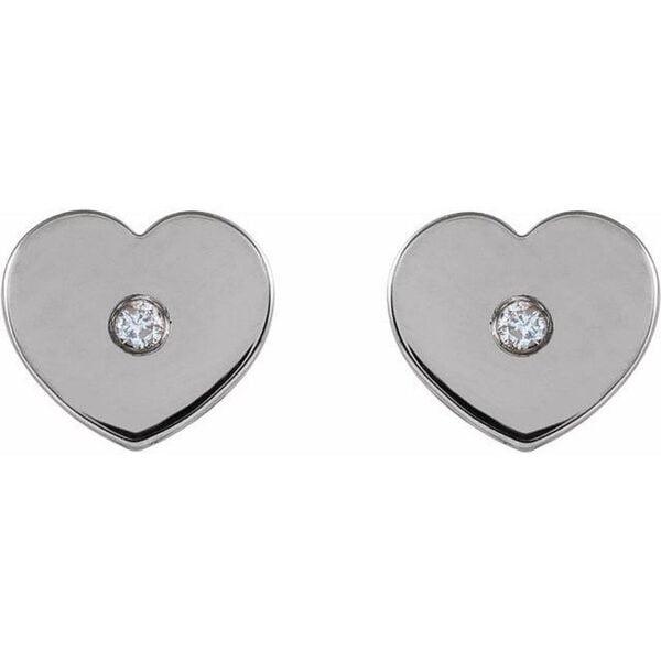 Cercei Aur Alb Copii Inima cu Diamante