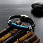 Bratara piele Leather Blue Elegance magazin bijuterii online