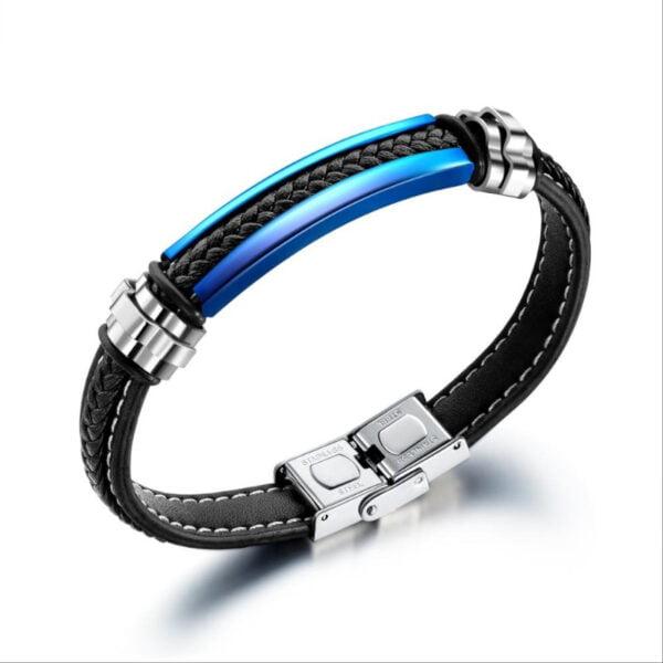 Bratara piele Leather Blue Elegance bijuterii