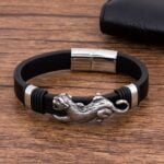 Bratara piele neagra barbati Leather Puma magazin bijuterii