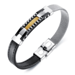 Bratara Leather Fancy Silver and Gold