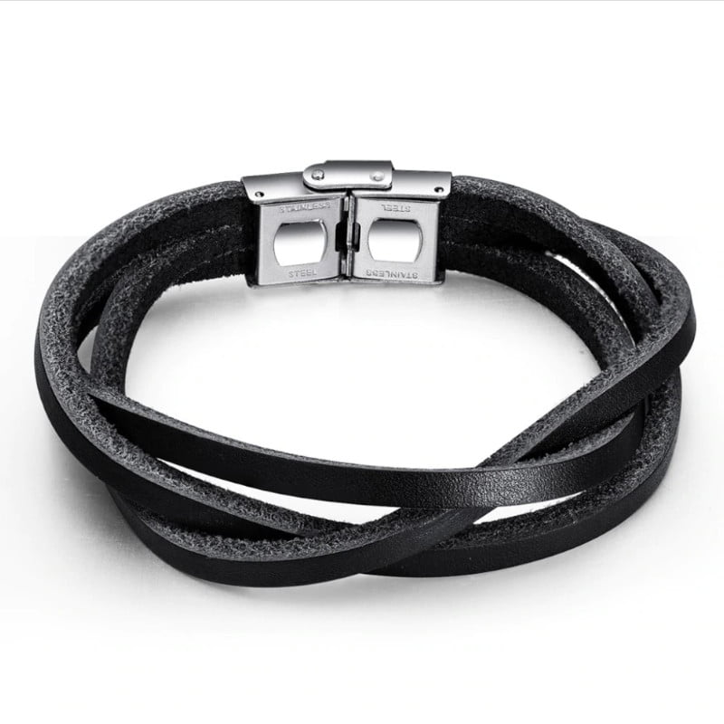 Bratara piele unisex Leather Clasic Neagra bijuterii