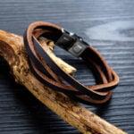 Bratara piele unisex Leather Clasic Maro magazin bijuterii online