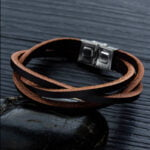 Bratara piele unisex Leather Clasic Maro magazin bijuterii