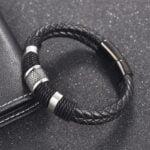 Bratara barbati piele neagra Leather Statement Black magazin bijuterii