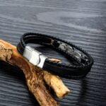Bratara piele neagra Leather Cheia Sol cu inchizatoare argintie