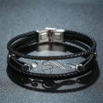 Bratara piele neagra Leather Cheia Sol bijuterii online