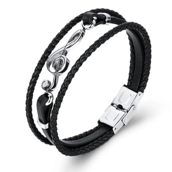 Bratara piele neagra Leather Cheia Sol magazin bijuterii