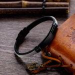 Bratara piele si otel inoxidabil Leather Combination
