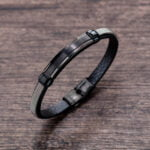 Bratara piele si otel inoxidabil Leather Combination bijuterii online
