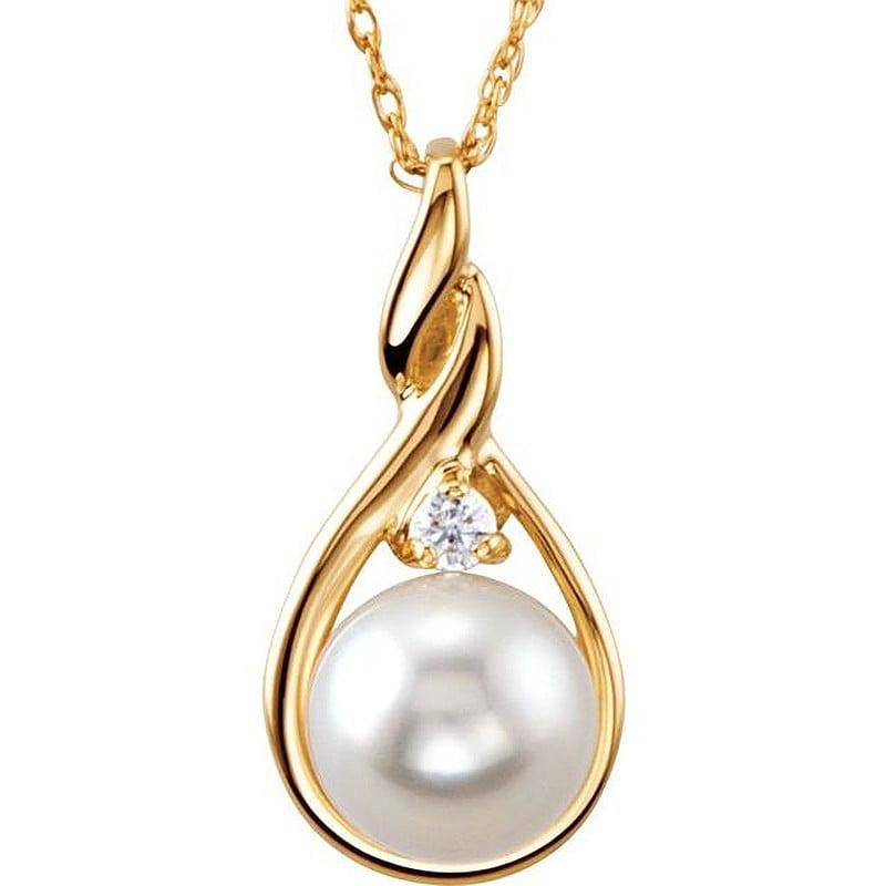 Pandantiv Aur Galben Akoya Perla cu Diamant