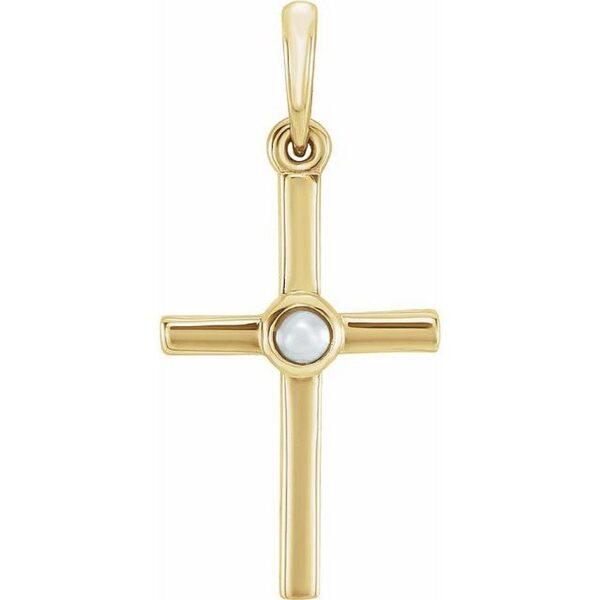 Pandantiv Aur Galben Cruce cu Perla de apa dulce bijuterii