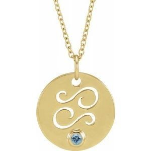 Pandantiv Zodiac Rac Aur Galben cu Aquamarine bijuterii