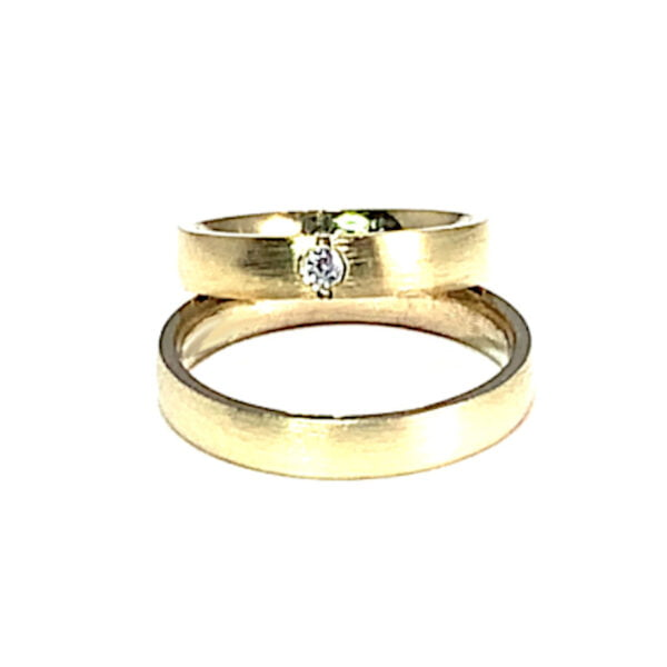 Verighete Aur Galben Saten cu Diamant