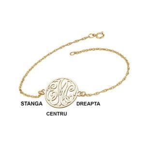 Bratara Aur Galben cu 3 initiale monograma bijuterii