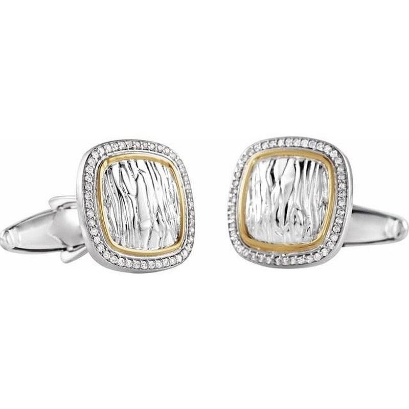 Butoni camasa barbati Aur Alb cu Diamante magazin bijuterii