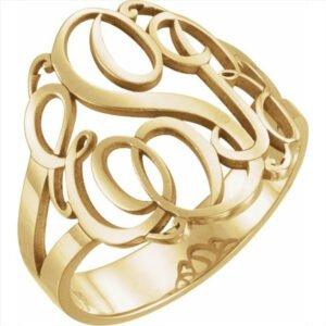 inel cu monograma aur galben