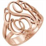 inel cu monograma aur roz