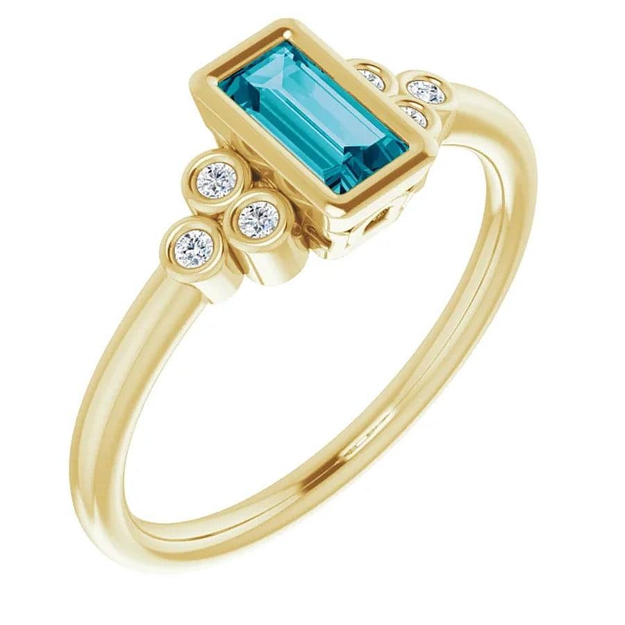 inel diamant topaz aur galben bagheta