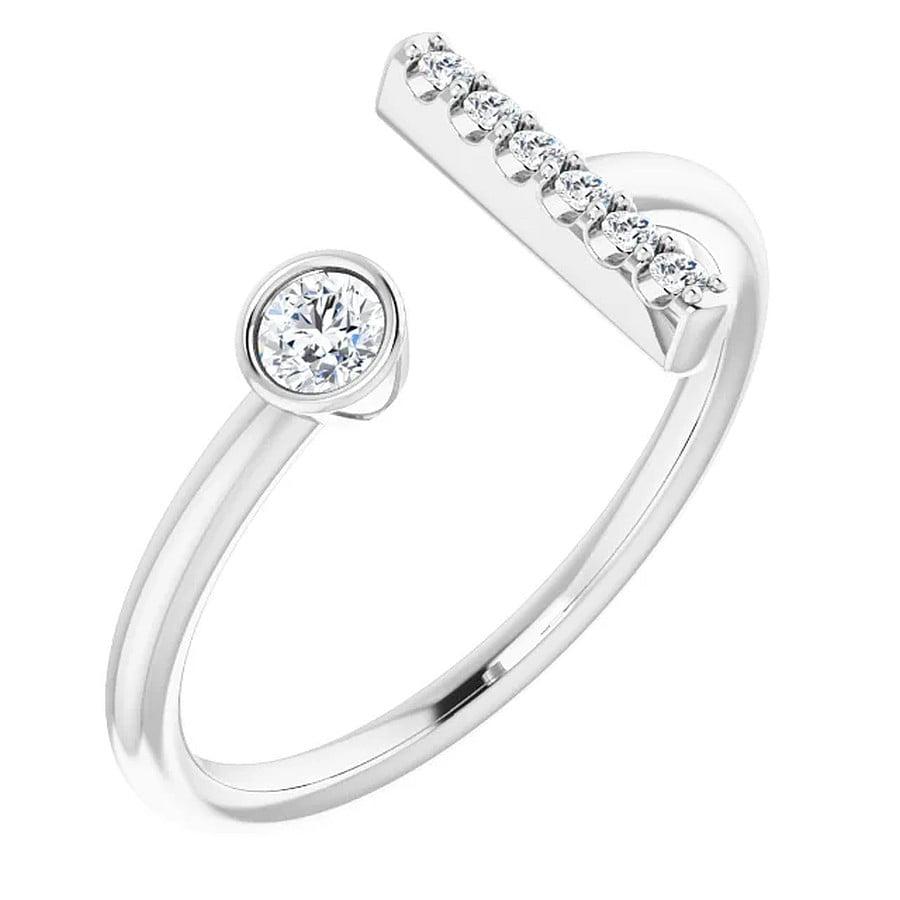 Inel T Aur Alb Platina Diamante magazin bijuterii online
