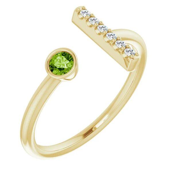 Inel T Aur Galben Platina Peridot Diamante