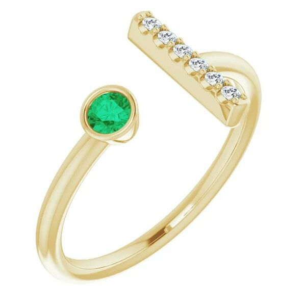 Inel T Aur Galben Platina Smarald Diamante bijuterii
