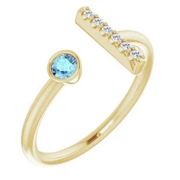 Inel T Aur Galben Platina ACVAMARIN Diamante magazin bijuterii