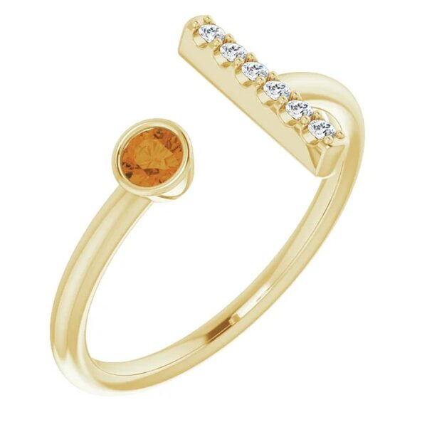 Inel T Aur Galben Platina Citrin Diamante magazin bijuterii