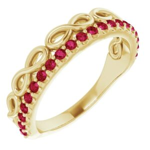 Inel Aur Galben Platina si RUBIN dublu Infinity bijuterii