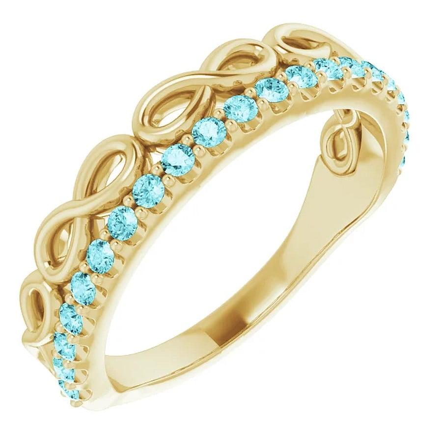 Inel Aur Galben Platina si Zirconiu dublu Infinity bijuterii