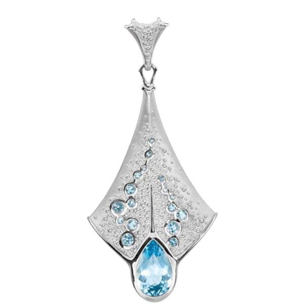 Pendant Platina cu Topaz si Acvamarin Blue Skies Exclusiv bijuterii